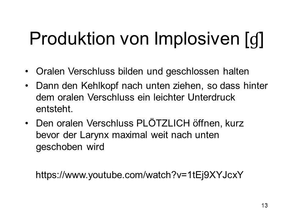 Produktion von Implosiven [ɠ]
